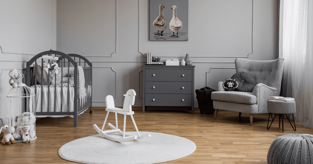 grey and white baby bedroom