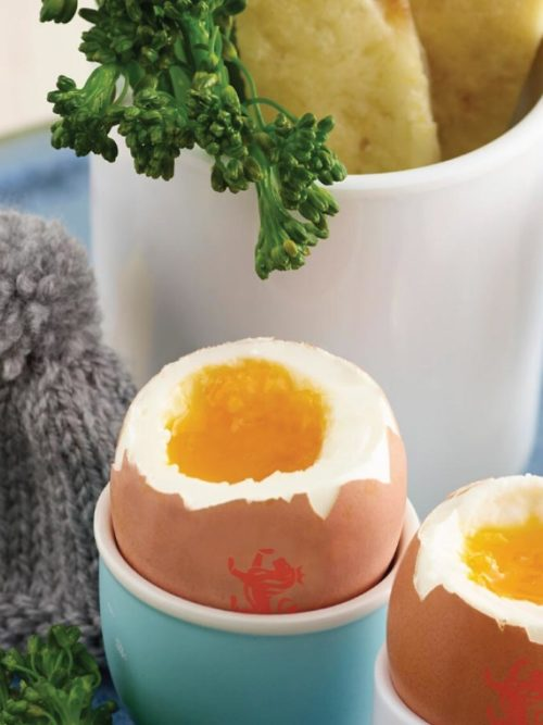 Boiled egg with broccoli and cheese soldiers
