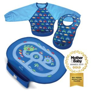 Weaning pack - Children's Placemat with Pocket and Feeding Bibs in Cars pattern