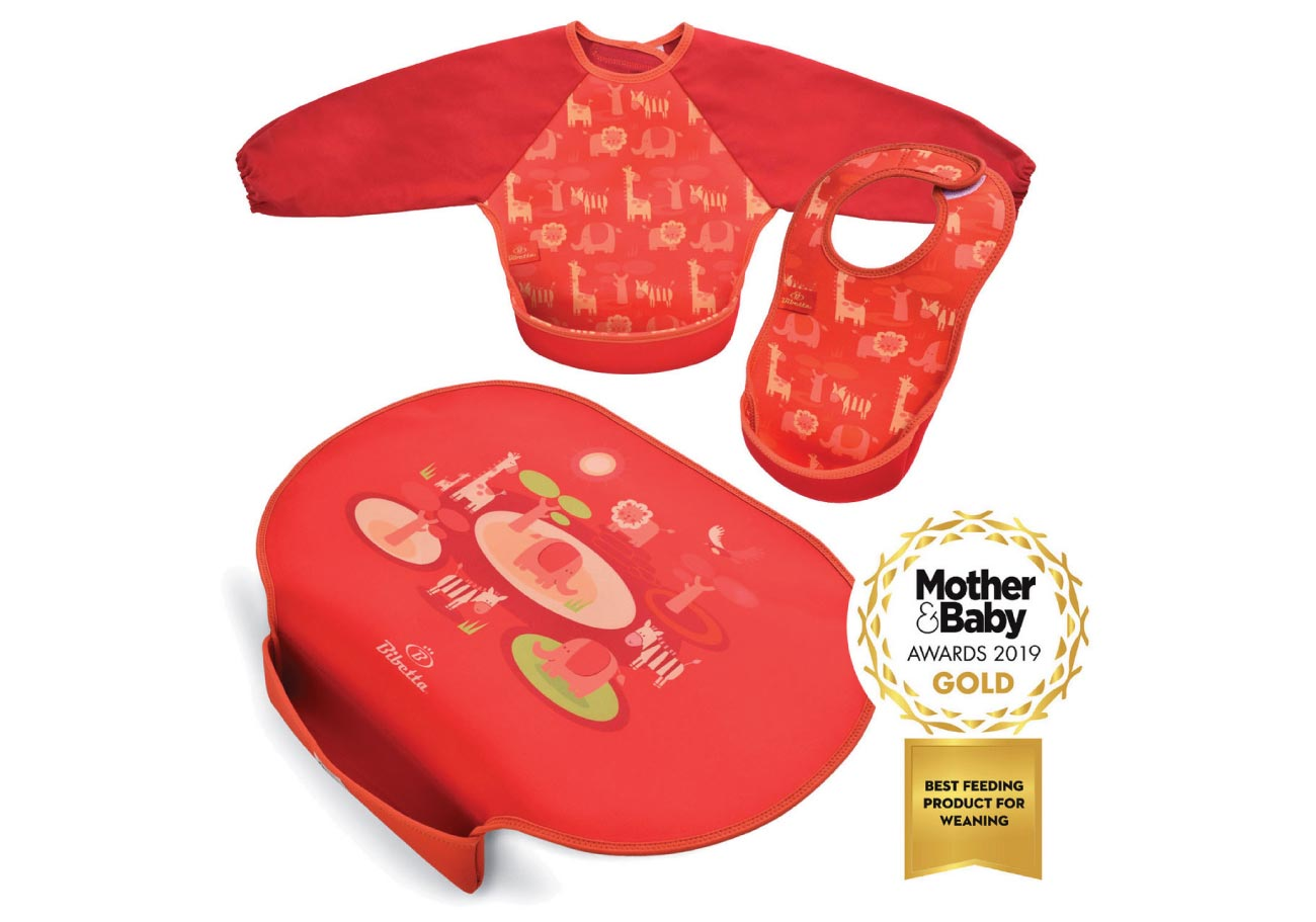 Weaning pack - Children's Placemat with Pocket and Feeding Bibs in Safari pattern
