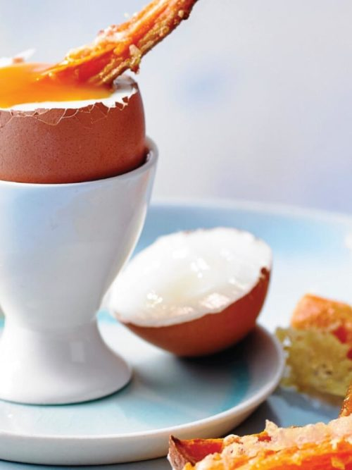 Dippy Eggs with Sweet Potato Soldiers (V)