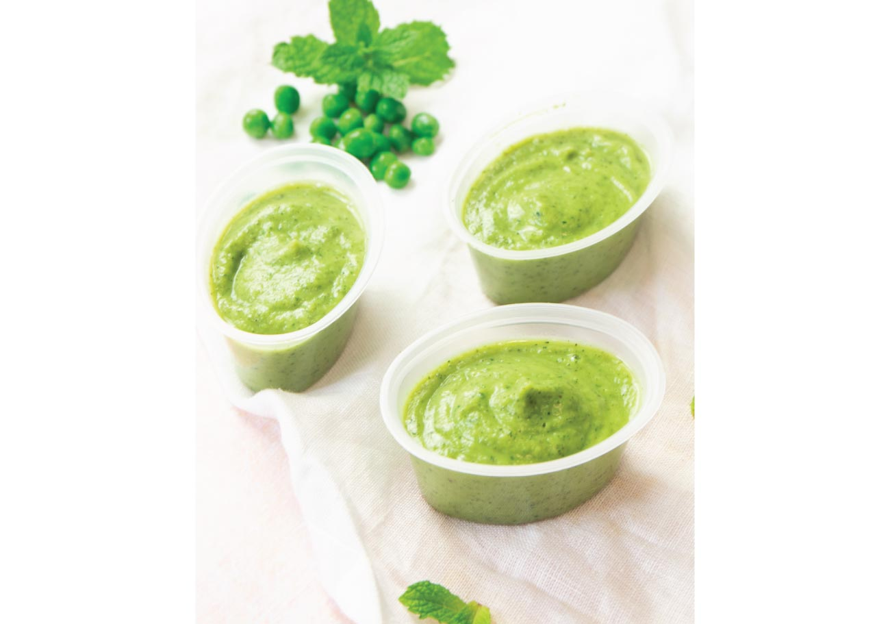 Courgette, Pea & Mint Puree